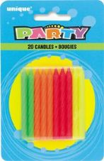 Multi Colour Birthday Cake Candles 20 Pack